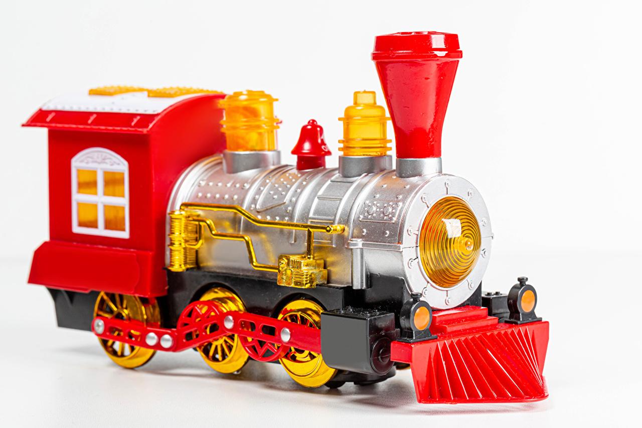 Bilder von Weißer hintergrund Züge Spielzeug Nahaufnahme hautnah Spielzeuge Großansicht