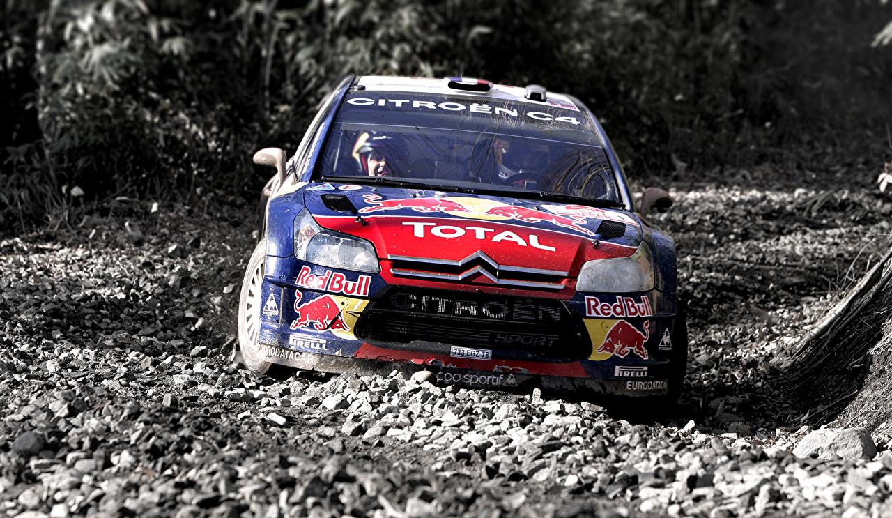 Hintergrundbilder Citroen Fahrzeugtuning Rallye C4 WRC Sport Autos Vorne Steine Tuning