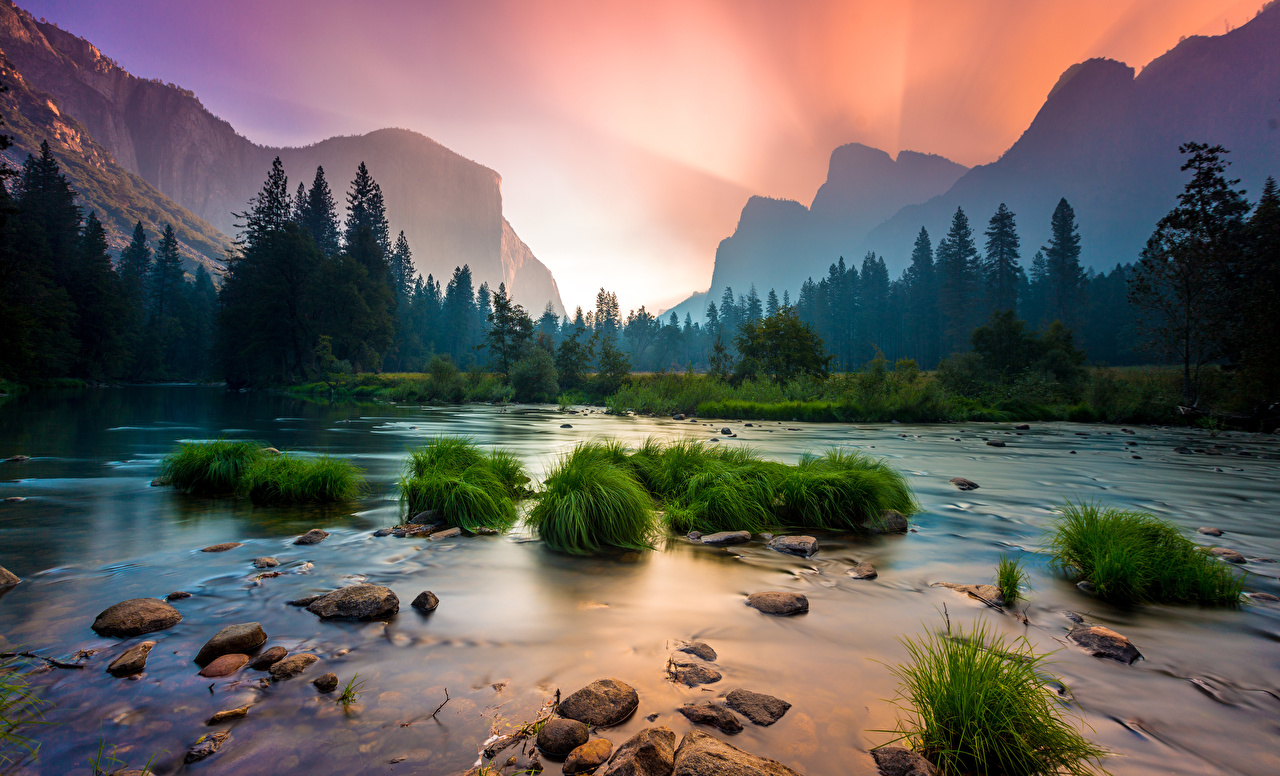 Photos Yosemite California USA Nature Mountains Parks Forests Sunrises and sunsets Landscape photography Grass Rivers Stones Scenery