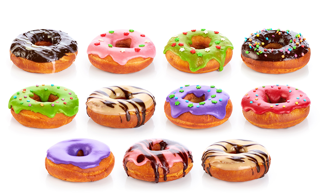Photos Multicolor Chocolate Doughnut Food White background Donuts