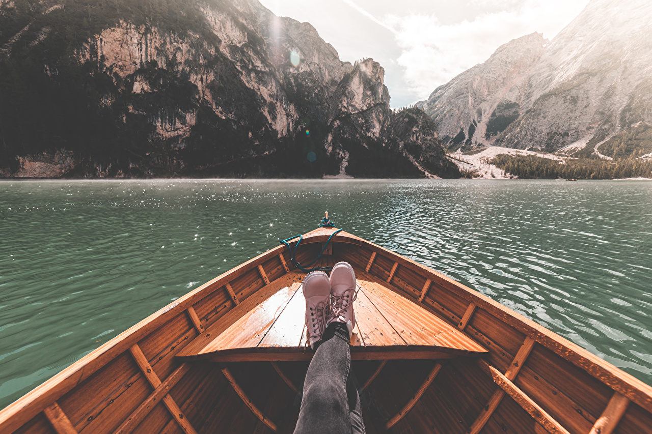Photos Italy Lake Braies Boots Nature mountain Legs Boats Mountains