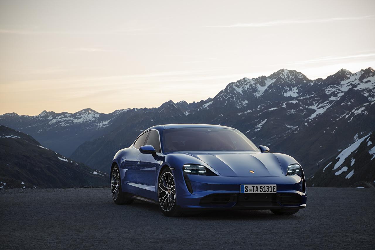 Image Porsche Taycan Blue mountain Cars Front Mountains auto automobile