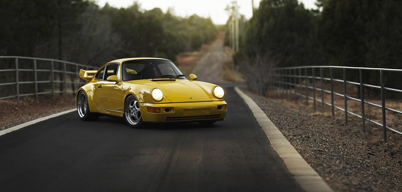 Pictures Porsche 911, Carrera RS 3.8 Coupe Yellow Roads Cars Metallic auto automobile
