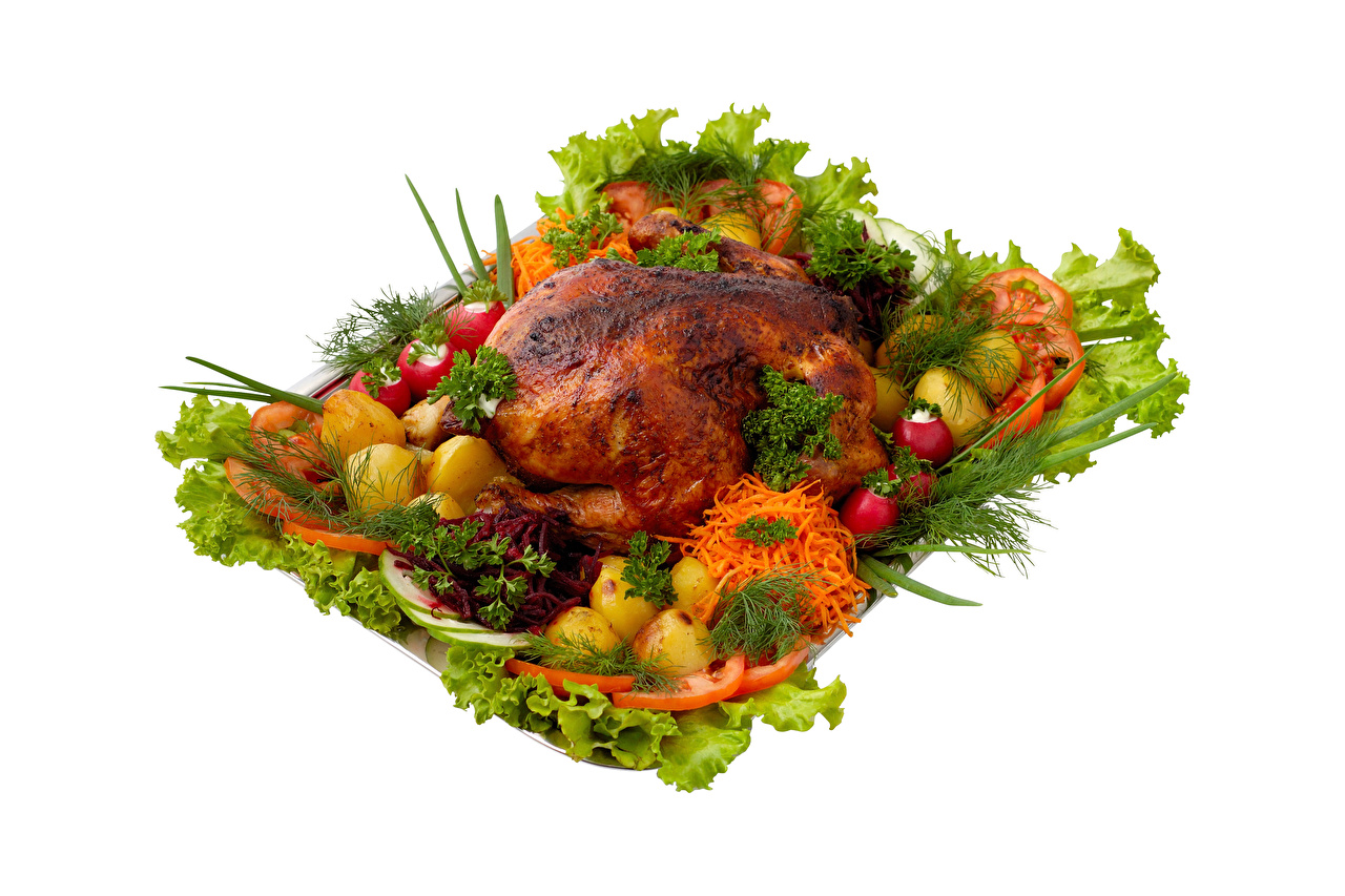 Pictures Potato Carrots Radishes Dill Roast Chicken Food Vegetables White background