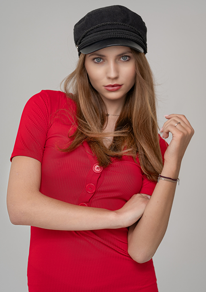 Pictures Pose frock female Staring Baseball cap  for Mobile phone posing gown Dress Girls Glance young woman