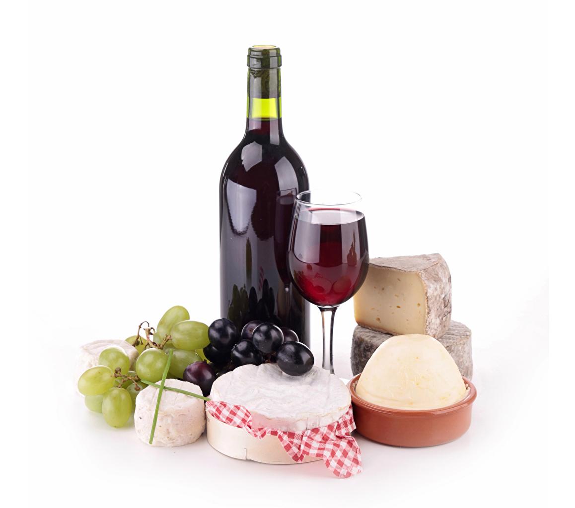 Wallpaper Wine Cheese Grapes Food Bottle Stemware Still-life White background bottles