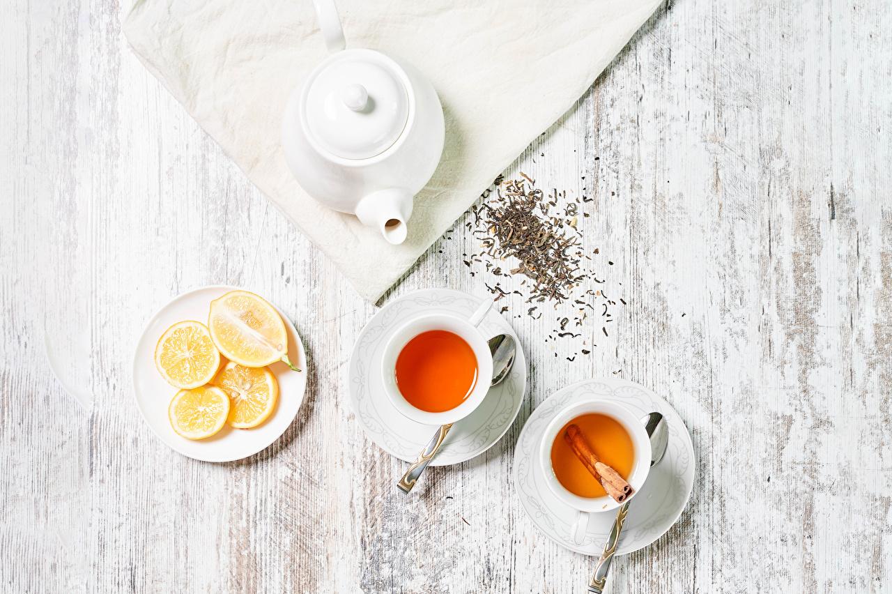 Bilder 2 Tee Zitronen Tasse das Essen Bretter Zwei Zitrone Lebensmittel