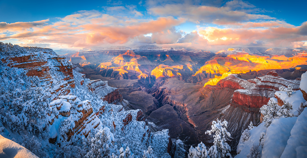 Image Grand Canyon Park USA Arizona Crag Canyon Nature Snow Parks Clouds Rock Cliff canyons park