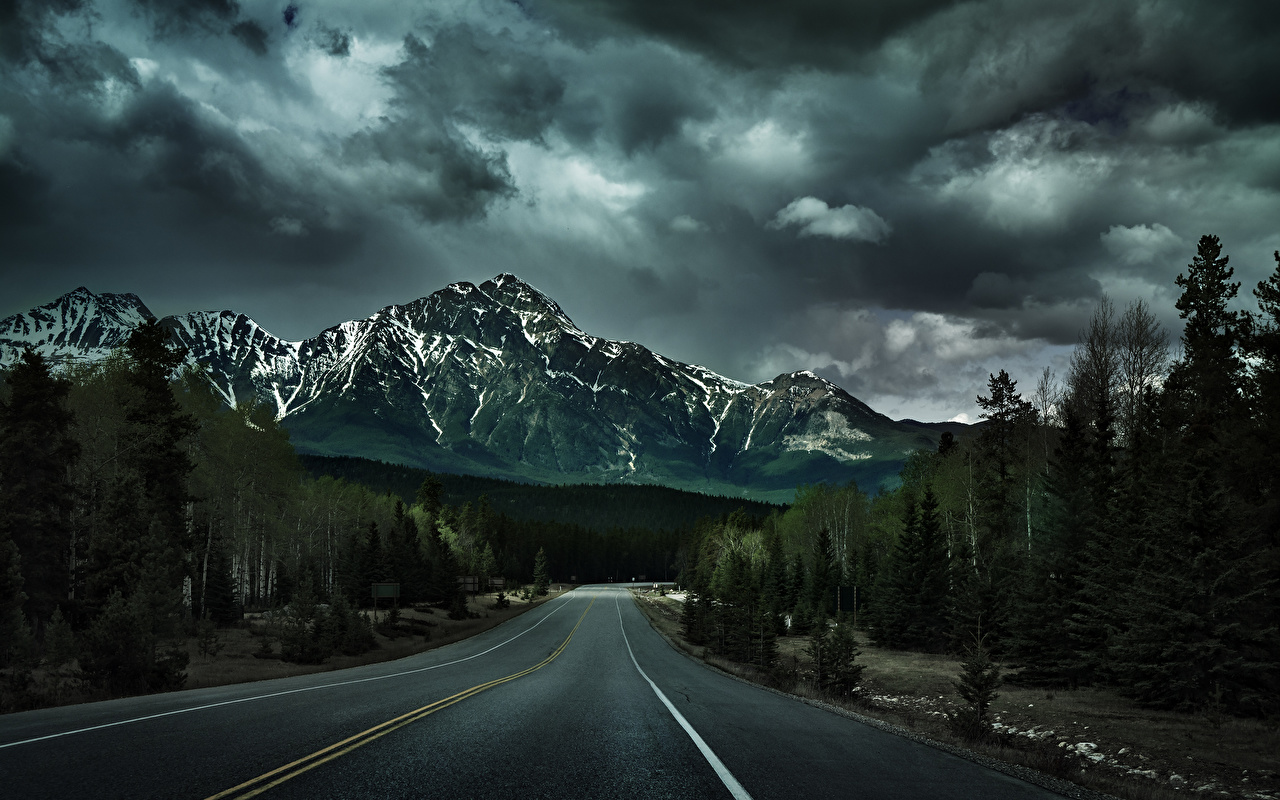 Photo Nature mountain Roads Asphalt Trees Clouds Mountains