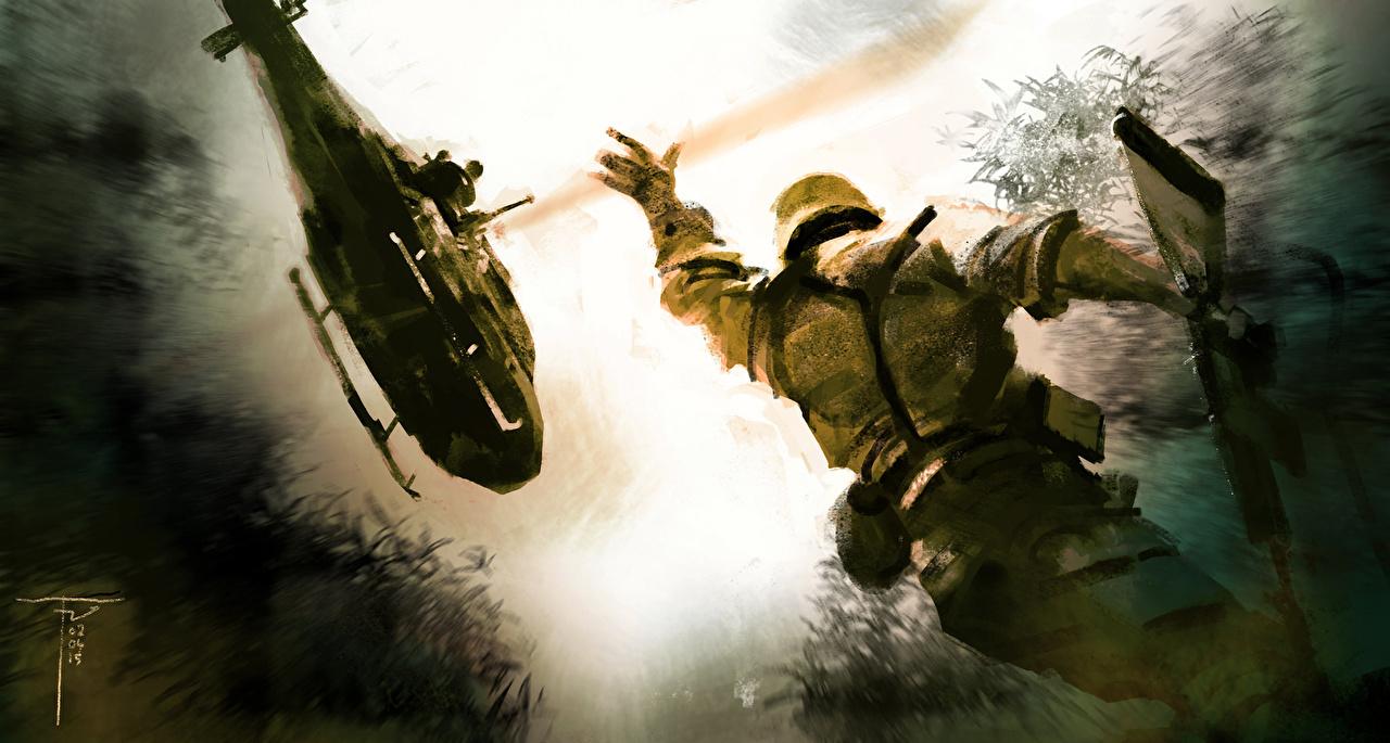 zdjęcie śmigłowiec żołnierz Wojska Śmigłowce Żołnierze