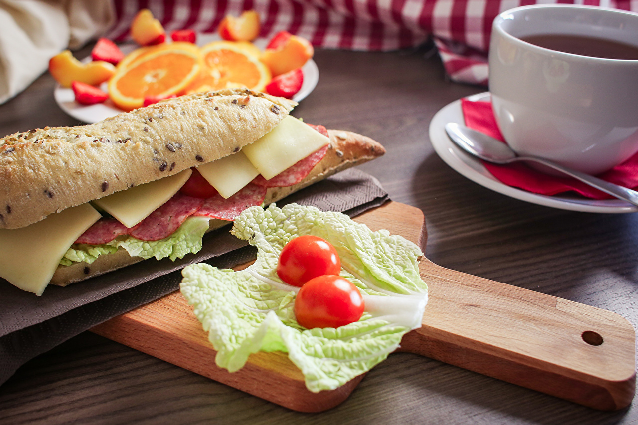 Pictures Cabbage Sausage Sandwich Cheese Food Cutting board