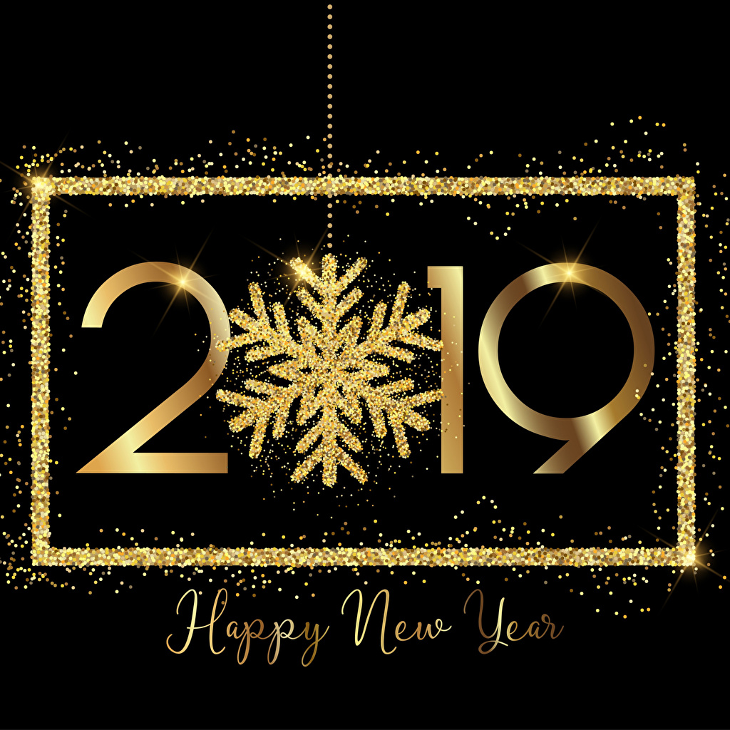 Image 2019 Christmas English Gold color Snowflakes Black background New year
