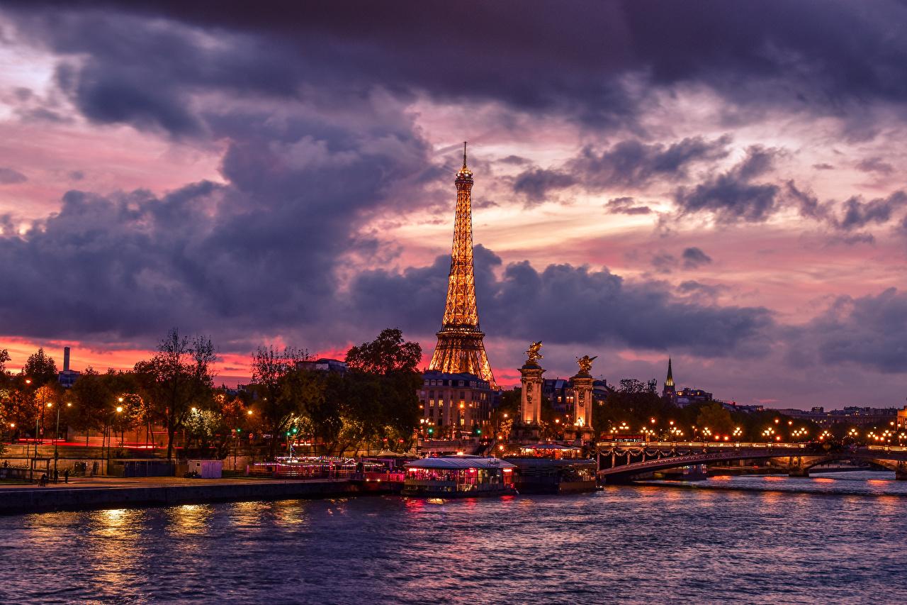 Bilder Paris Eiffelturm Frankreich Brücke Himmel Fluss Abend Bootssteg Wolke Städte Brücken Flusse Seebrücke Schiffsanleger