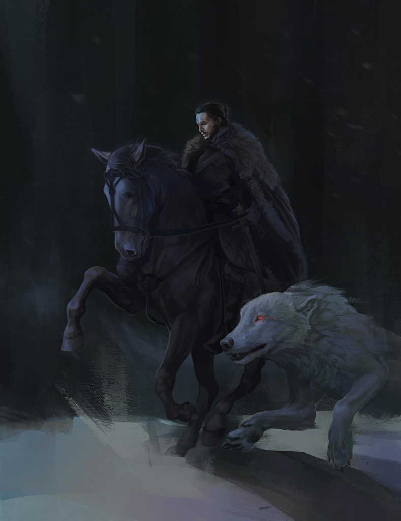 Wallpaper Game Of Thrones Wolves Horses Jon Snow Movies Painting Art
