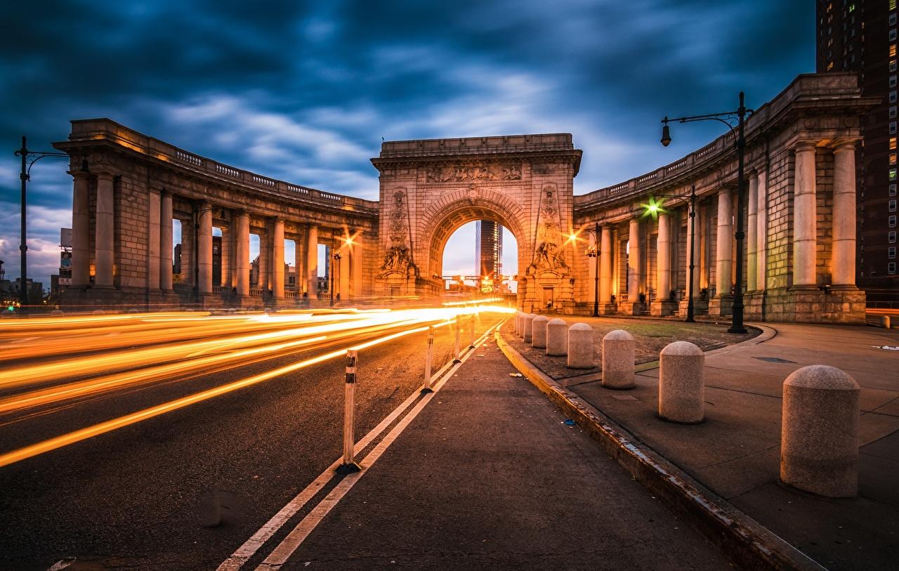 Wallpaper USA Arch Manhattan Bridge Roads Evening Cities