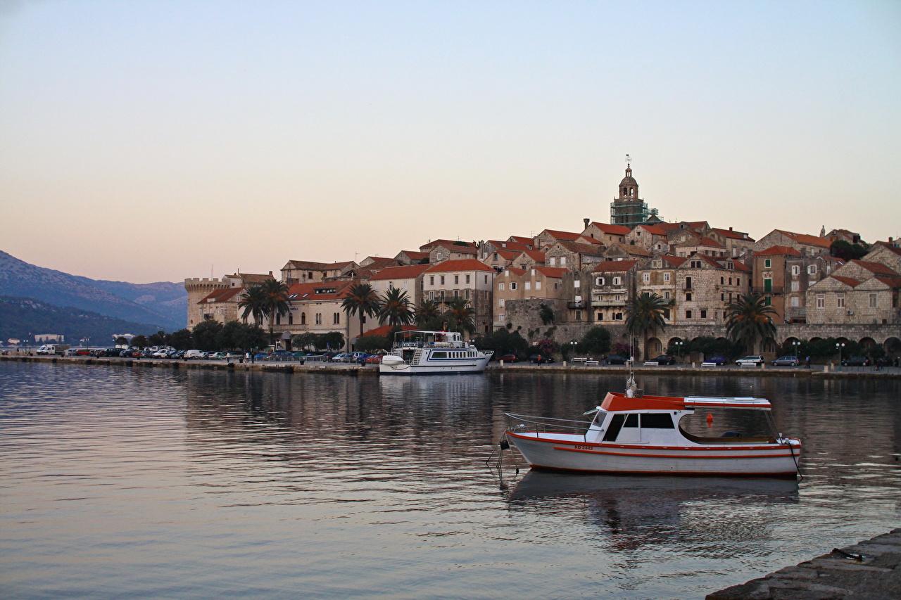 Pictures Croatia Korcula Coast Motorboat Houses Cities speedboat powerboat Building