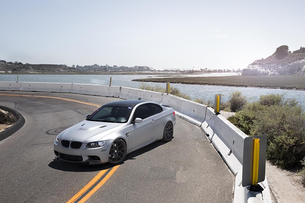 Pictures BMW m3 e92 Silver color Roads auto Cars automobile