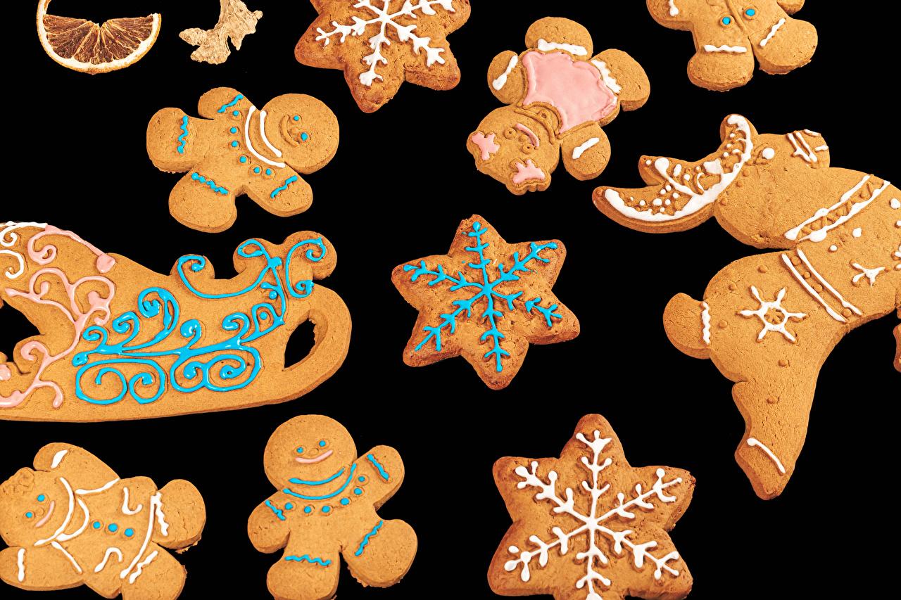 Desktop Wallpapers Christmas Sled Snowflakes Food Cookies Black background Design New year sledge sleigh