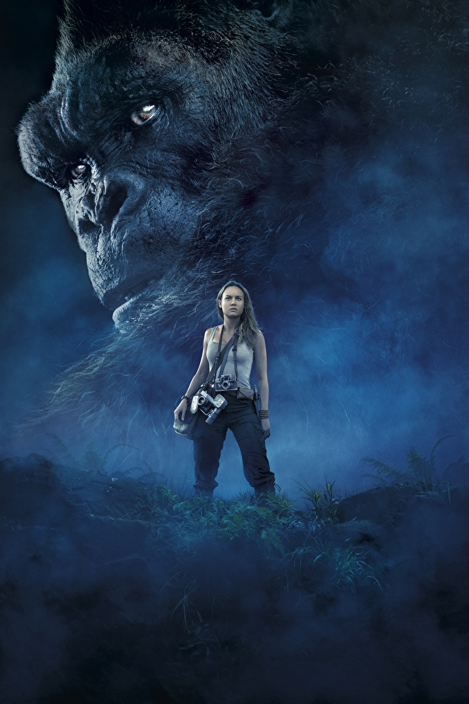 Images Kong: Skull Island Monkeys Brie Larson female film Snout  for Mobile phone monkey Girls young woman Movies