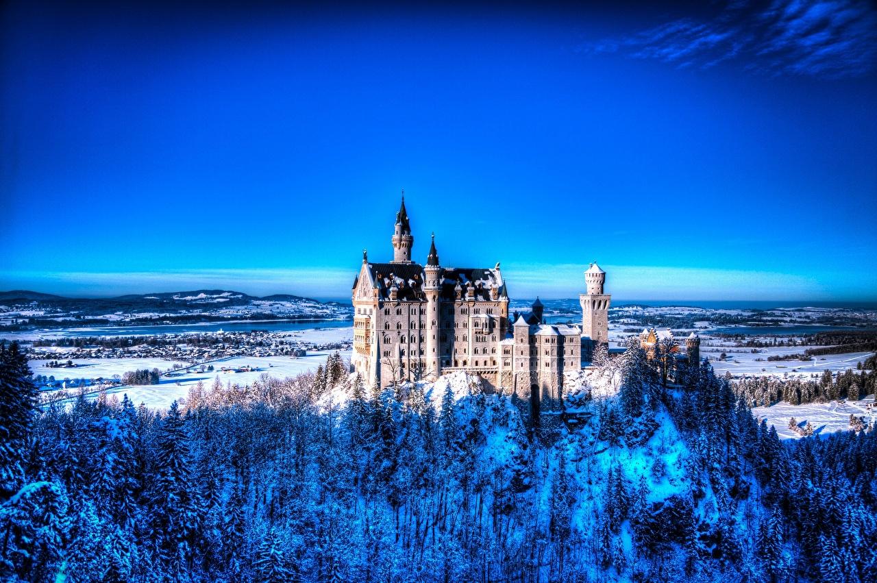 壁紙 ノイシュヴァンシュタイン城 ドイツ 冬 都市 自然