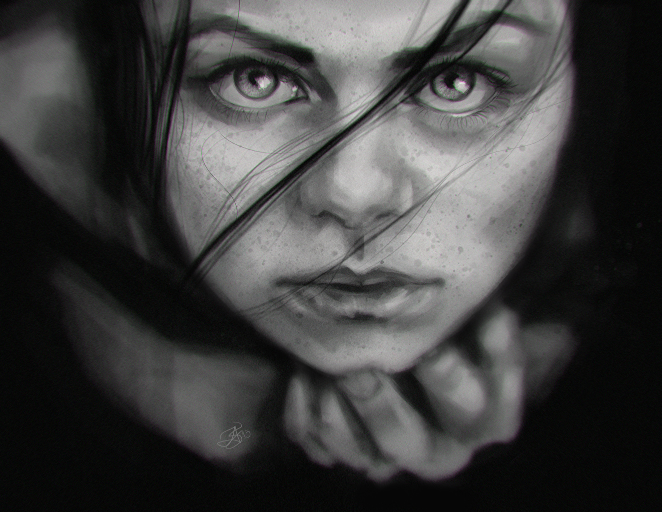 壁紙 クローズアップ 凝視 白黒 顔 少女 ダウンロード 写真