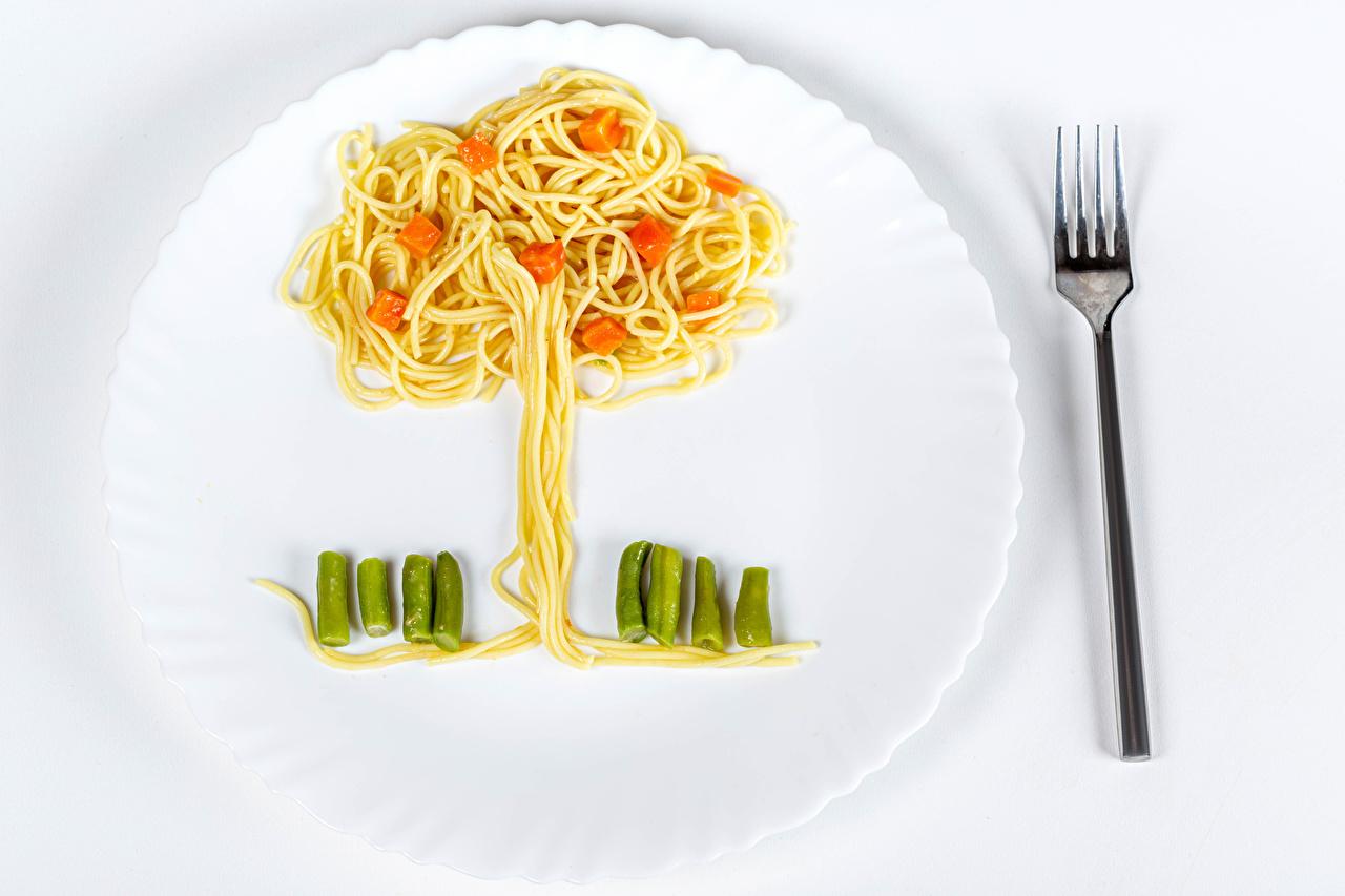 Picture Pasta Fork Food Plate Vegetables Trees Design