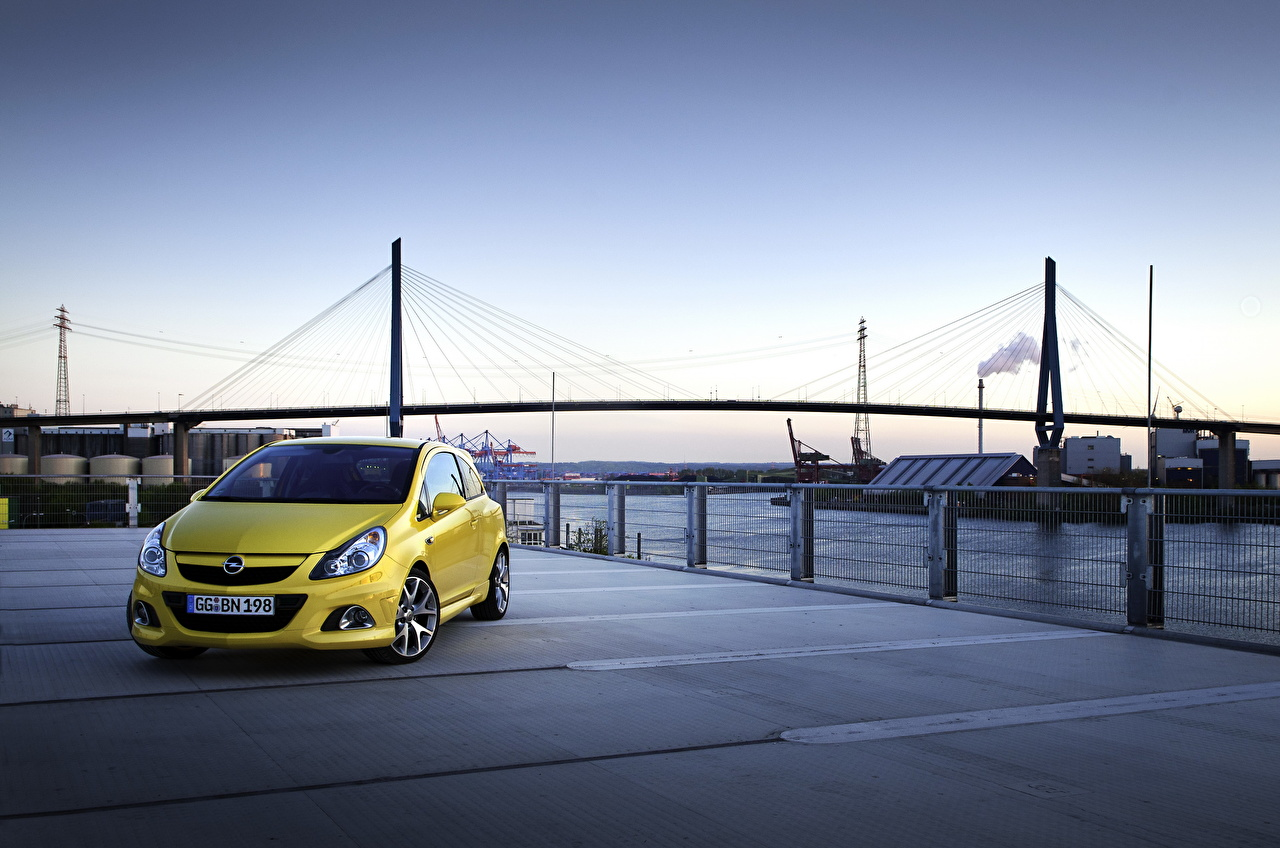 Images Opel 2010 Corsa Opc Yellow Bridges Cars Cities