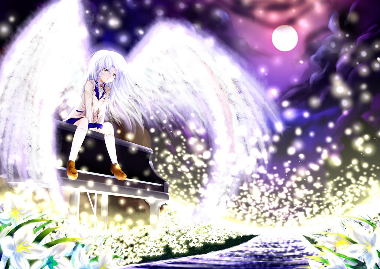 壁紙 エンジェル ビーツ 天使 Tachibana Kanade 翼 ピアノ