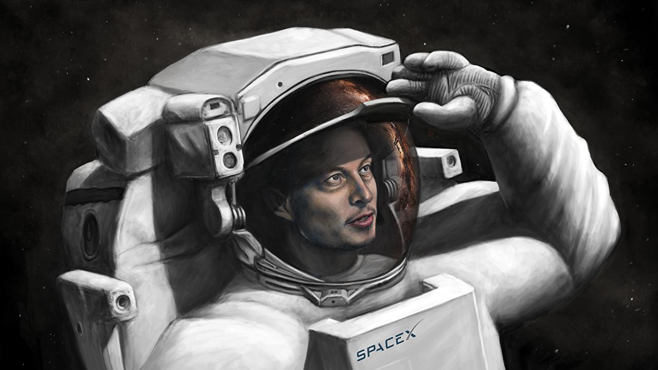 Image Cosmonauts Elon Musk, SpaceX Space Painting Art astronaut cosmonaut