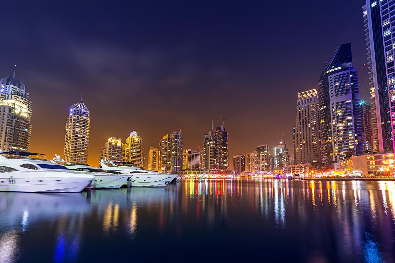 Wallpaper Dubai Emirates UAE Yacht night time Skyscrapers Cities Night