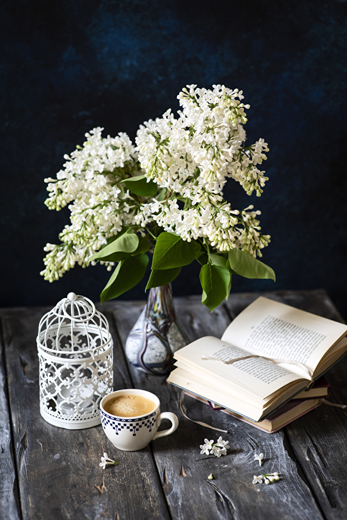 Wallpaper Coffee Cappuccino Lilac Flowers Cup Vase Book Food Still-life Wood planks  for Mobile phone flower Syringa books boards