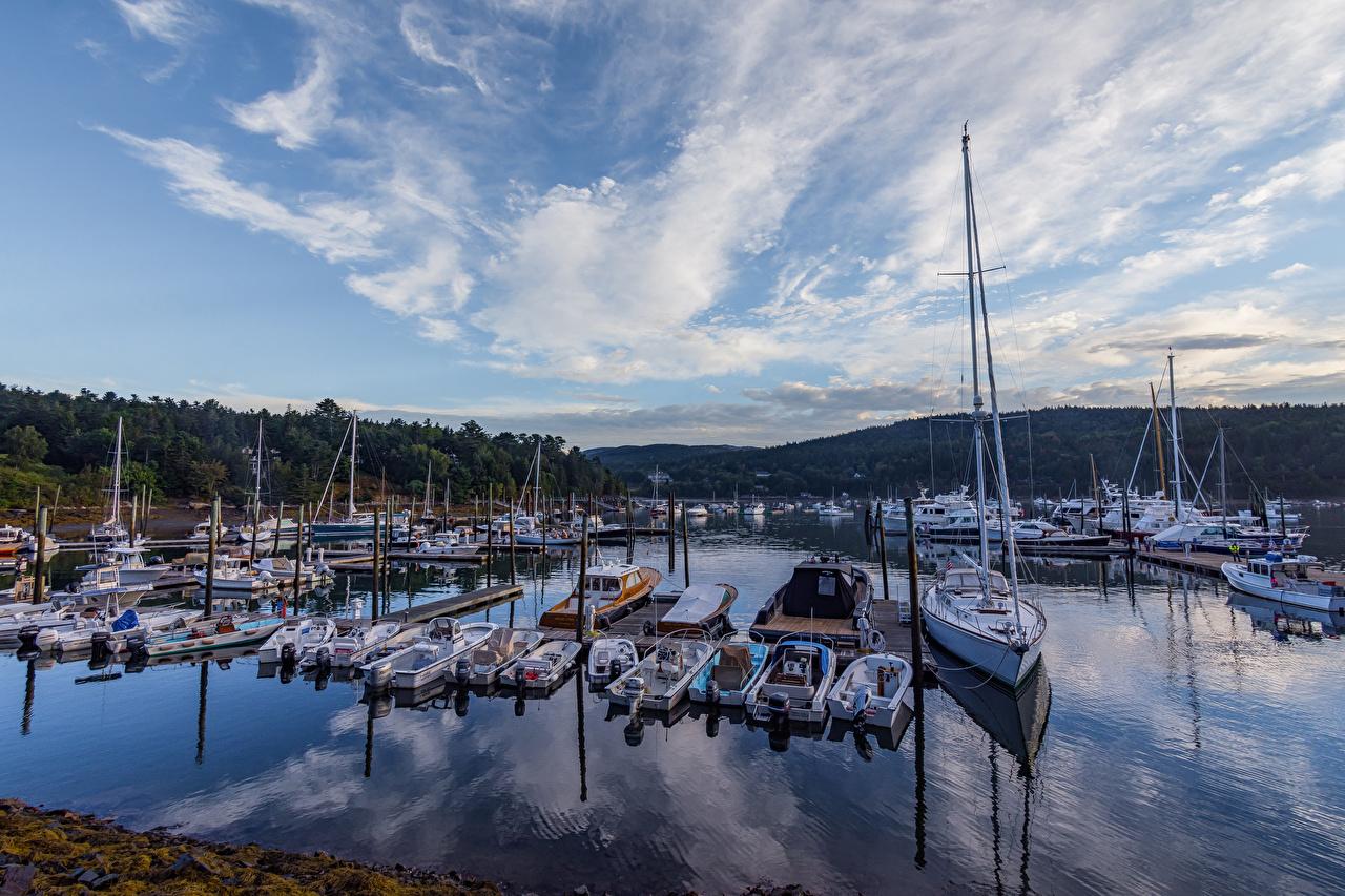 Bilder Vereinigte Staaten Acadia National Park Jacht Segeln Bootssteg Motorboot Städte USA Yacht Seebrücke Schiffsanleger