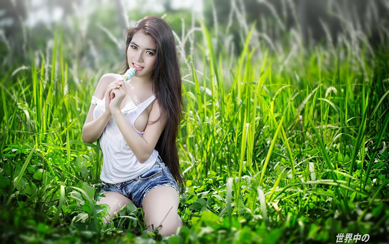 Skrivebordsbakgrunn Brunette jente Posere ung kvinne asiatisk Ermeløs t-skjorte Gress Hender Kortbukse Blikk Unge kvinner Asiater Skjorte Ermeløs shorts ser