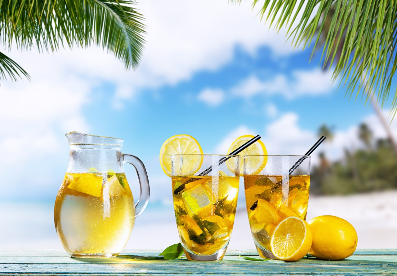 Photos Lemonade Lemons pitcher Highball glass Food jugs Jug container