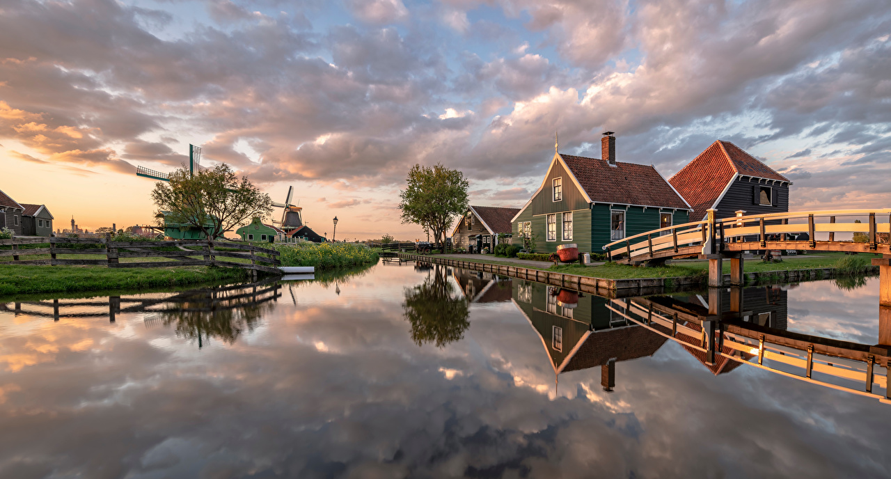 Photos Nature Netherlands panoramic Zaanse Schans Mill Canal Bridges Building Panorama bridge windmill windmills Houses