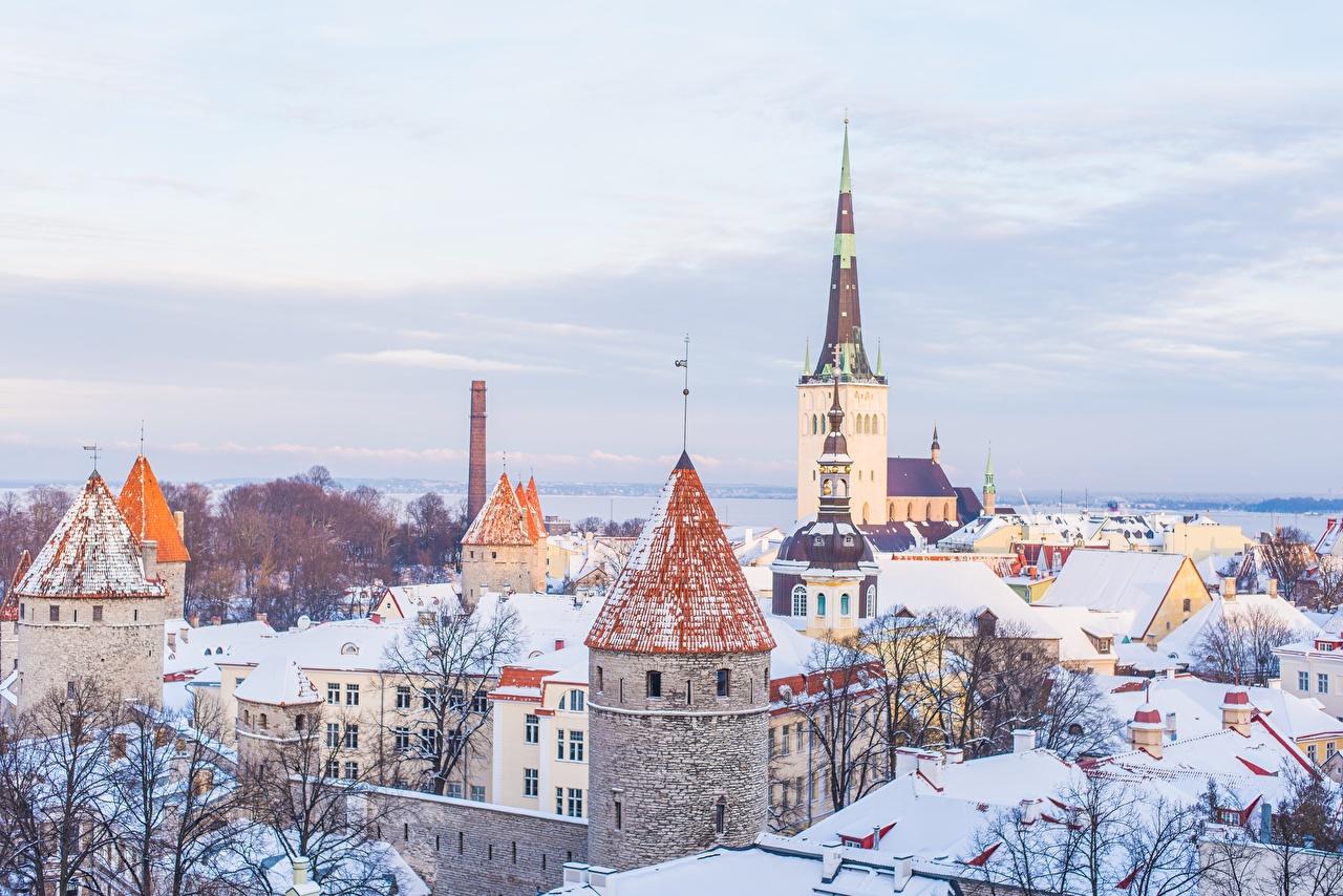 Desktop Wallpapers Church Tallinn Estonia Winter Snow Cities Building Houses