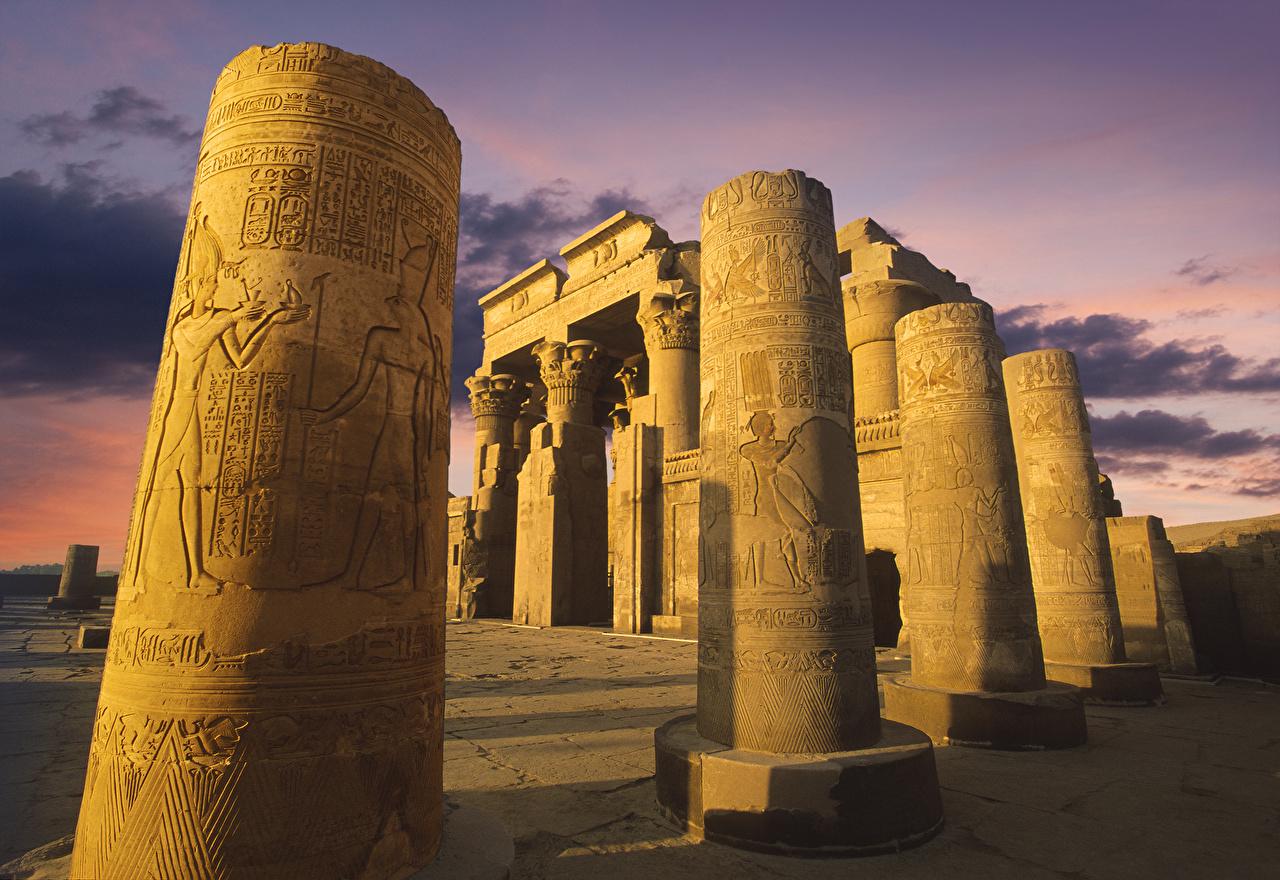 Fotos von Ägypten Säule Temple of Kom Ombo Ruinen Abend Tempel Städte säulen
