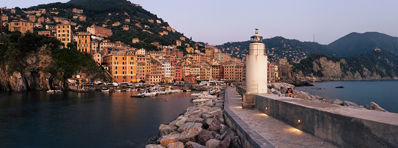 Image Liguria Italy Ligurian Sea Mountains Lighthouses Yacht Boats stone Waterfront Houses Cities mountain Stones Building