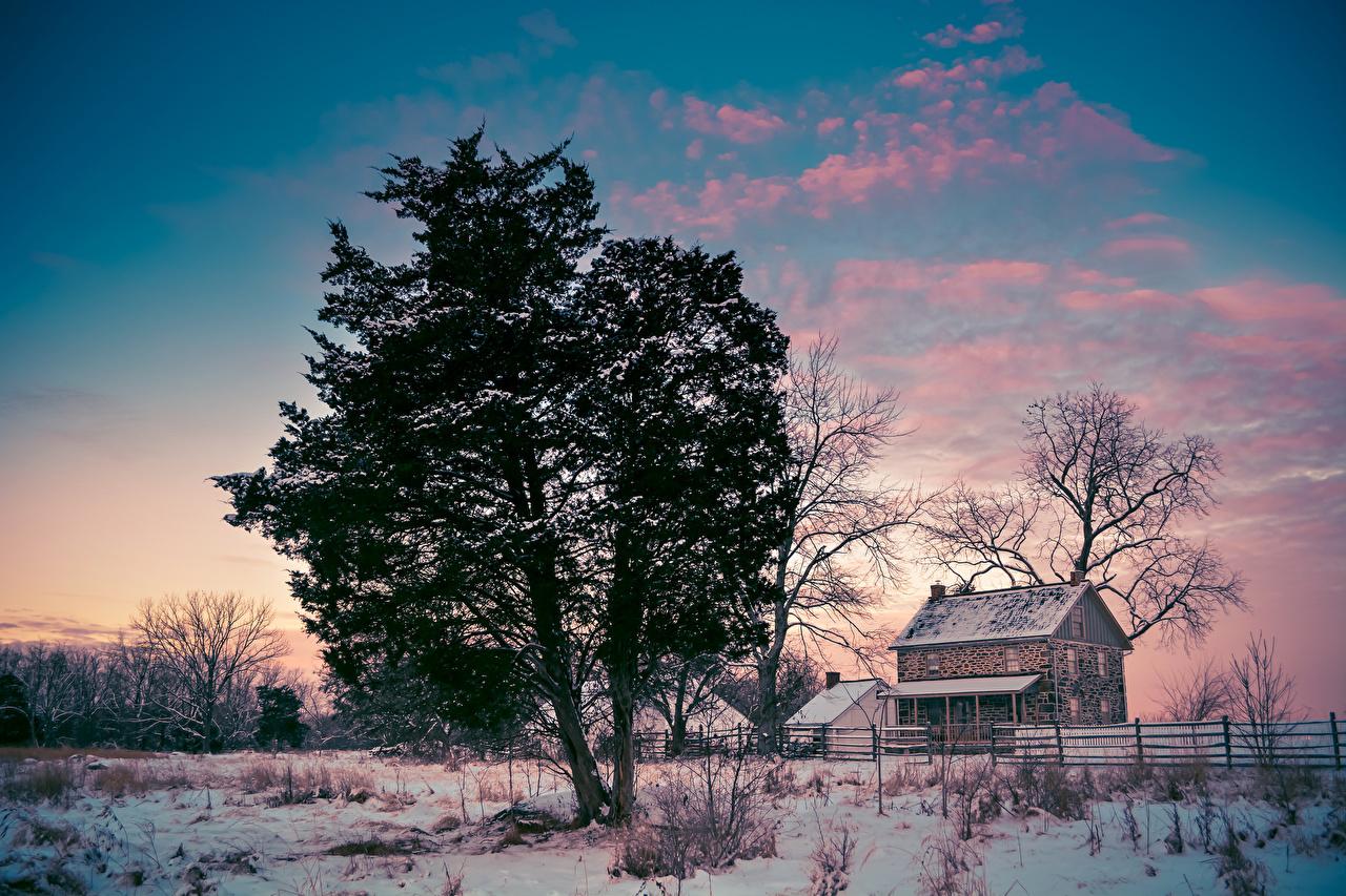 Hintergrundbilder USA Gettysburg National Military Park Pennsylvania Natur Winter Schnee Bäume Gebäude Vereinigte Staaten Haus