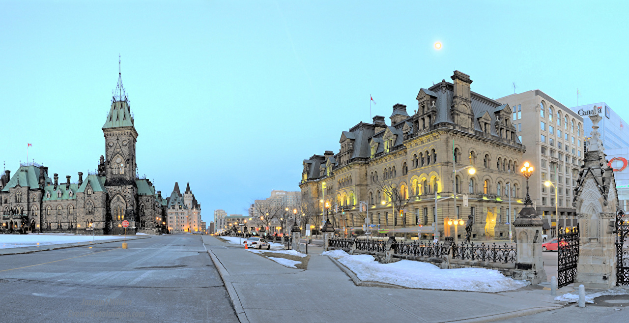 Wallpaper Canada Ottawa Ontario Street Street lights Houses Cities Building
