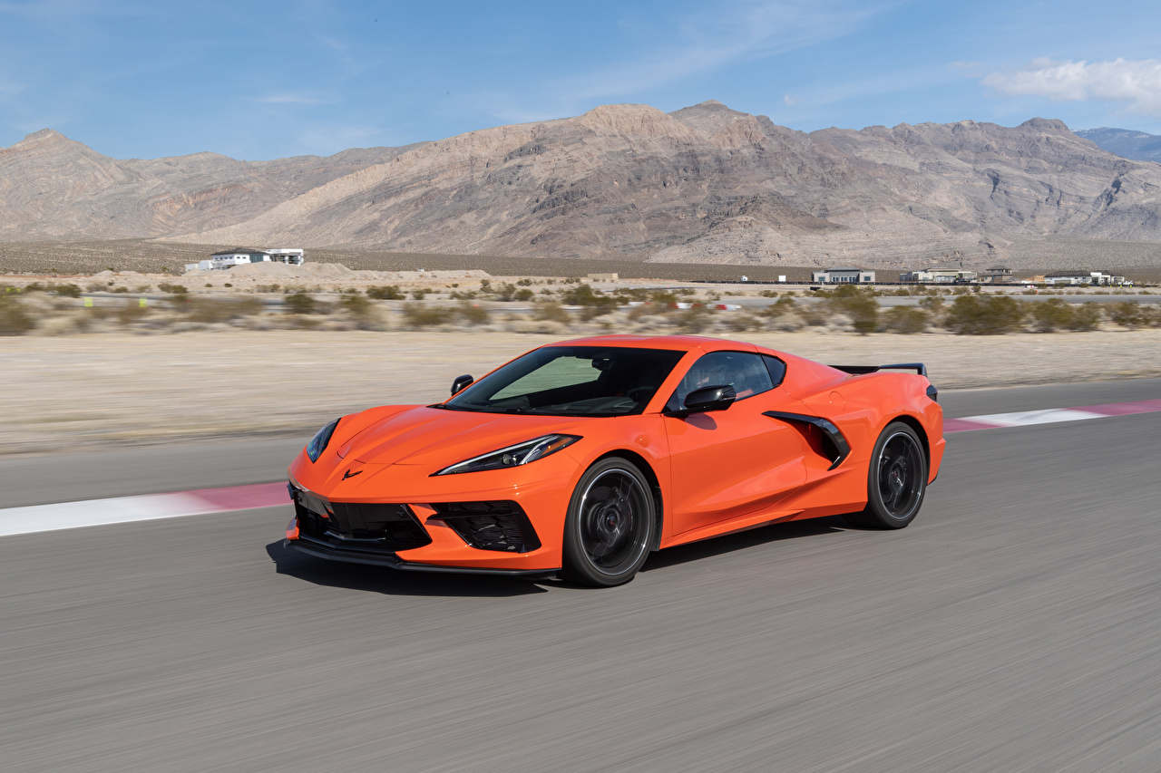 Pictures Chevrolet 2020 Corvette Stingray Z51 Orange at speed Cars Motion riding moving driving auto automobile