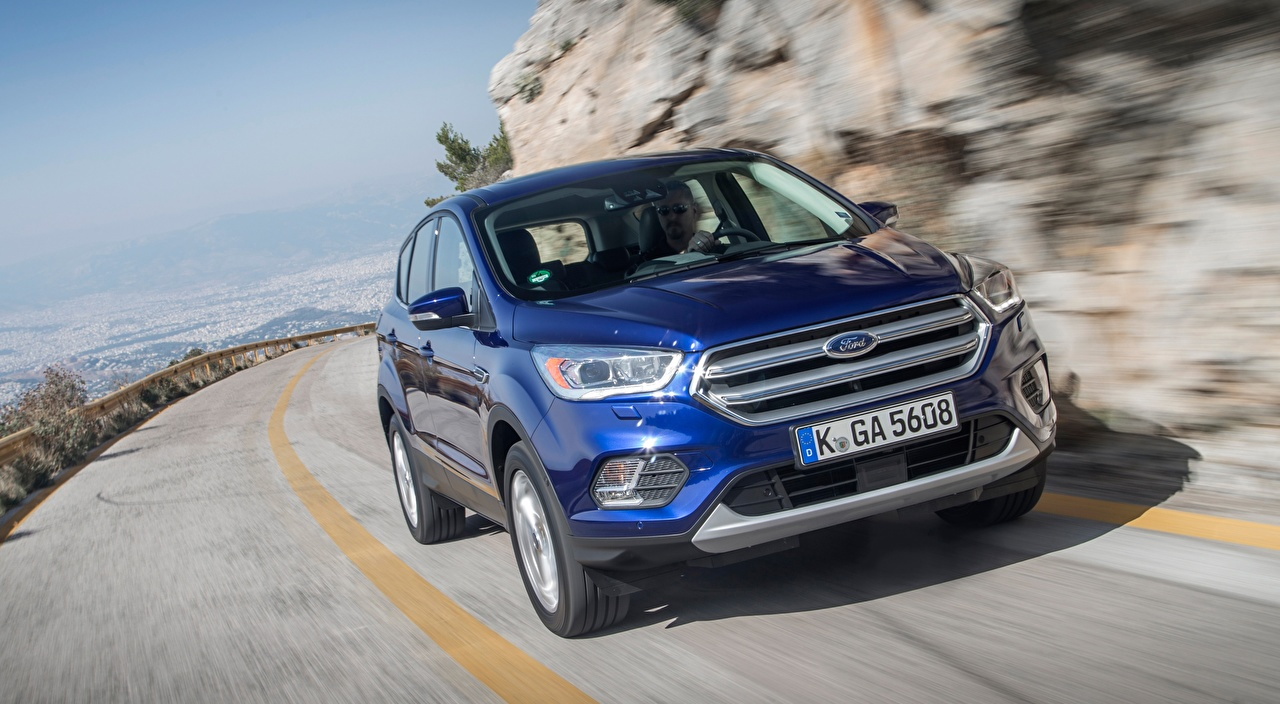 Desktop Wallpapers Ford CUV blurred background Blue Motion auto Front Metallic Crossover Bokeh moving riding driving at speed Cars automobile