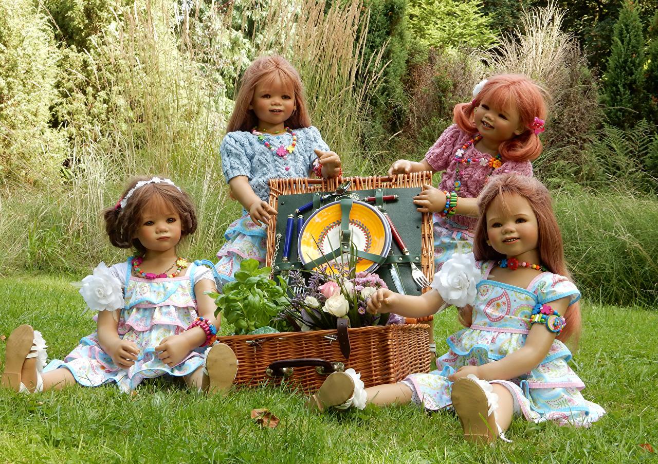 Pictures Little girls Germany Doll Grugapark Essen Parks Wicker basket Grass park