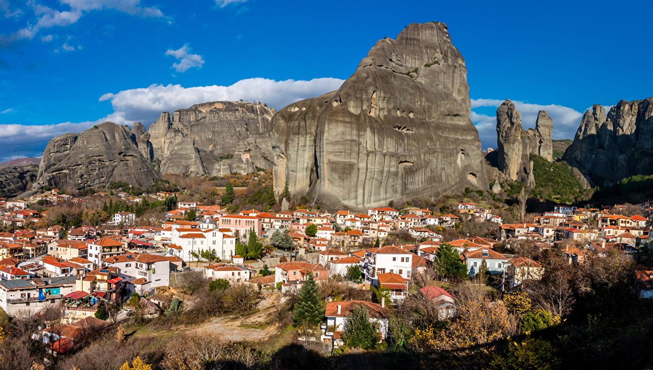 Picture Greece Meteora, Kastraki Rock Mountains Houses Cities Crag Cliff mountain Building