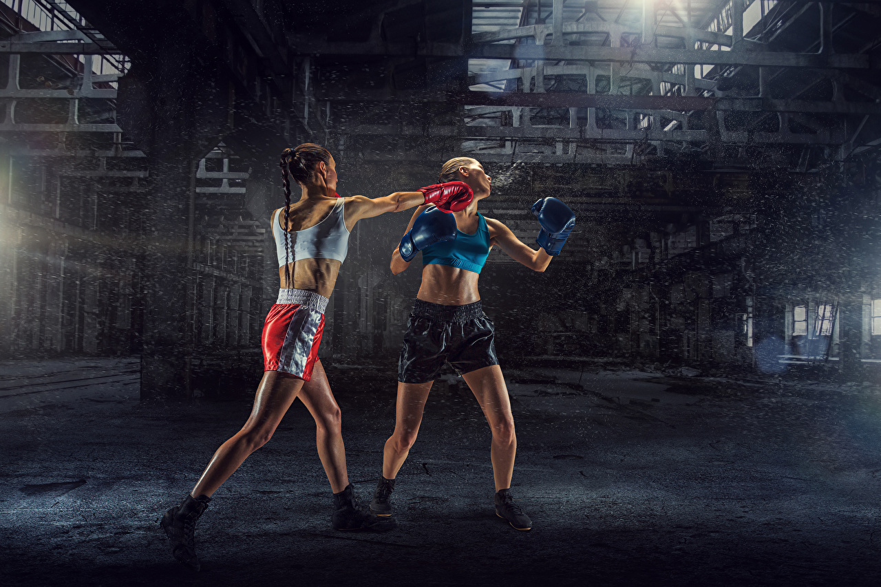 Picture to beat female Two athletic Boxing Physical exercise Uniform To hit Girls young woman 2 Sport sports Workout