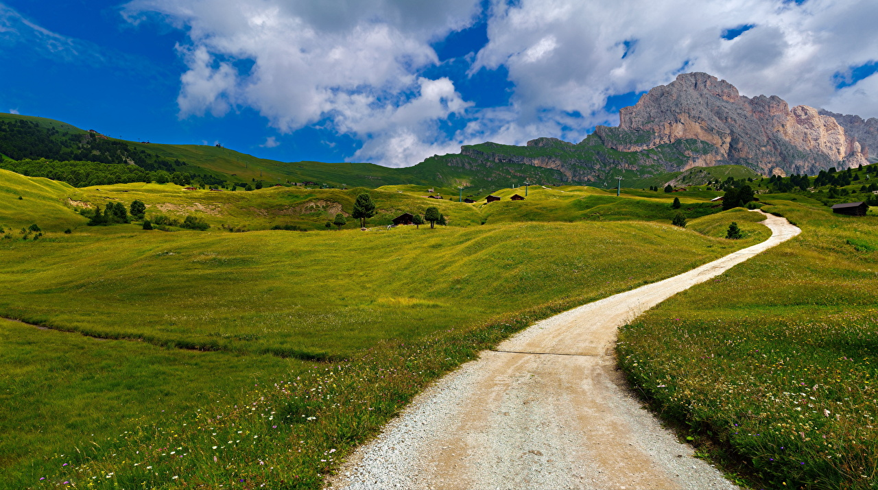 Foto Alpen Italien Trentino-Alto Adige Natur Gebirge Wege Wolke Berg Straße
