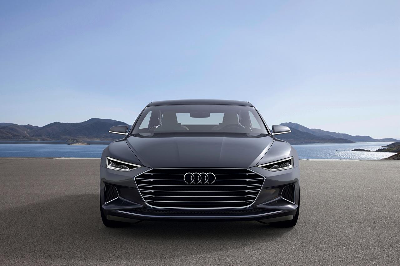 Foto Audi 2014, Prologue, Concept Coupe graues auto Vorne Metallisch Grau graue Autos automobil