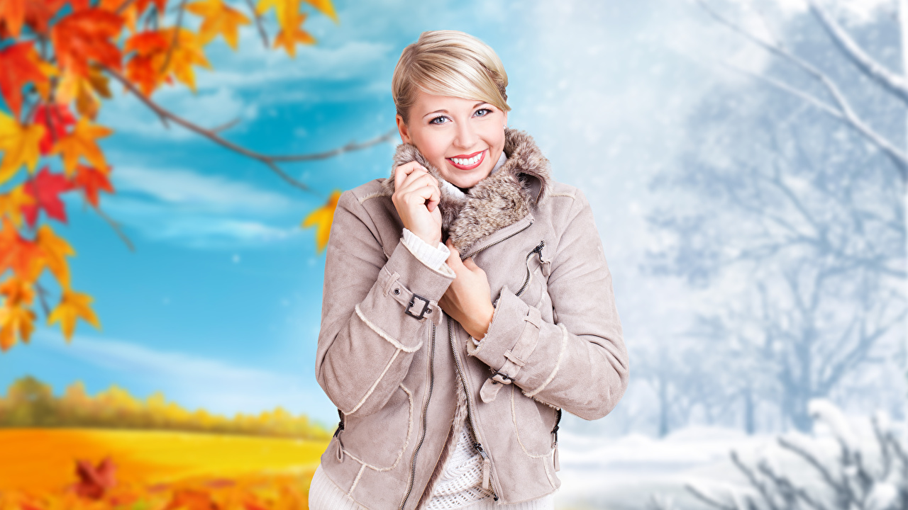 Images Blonde girl Smile Bokeh Girls Autumn Winter Jacket Hands Glance blurred background female young woman Staring