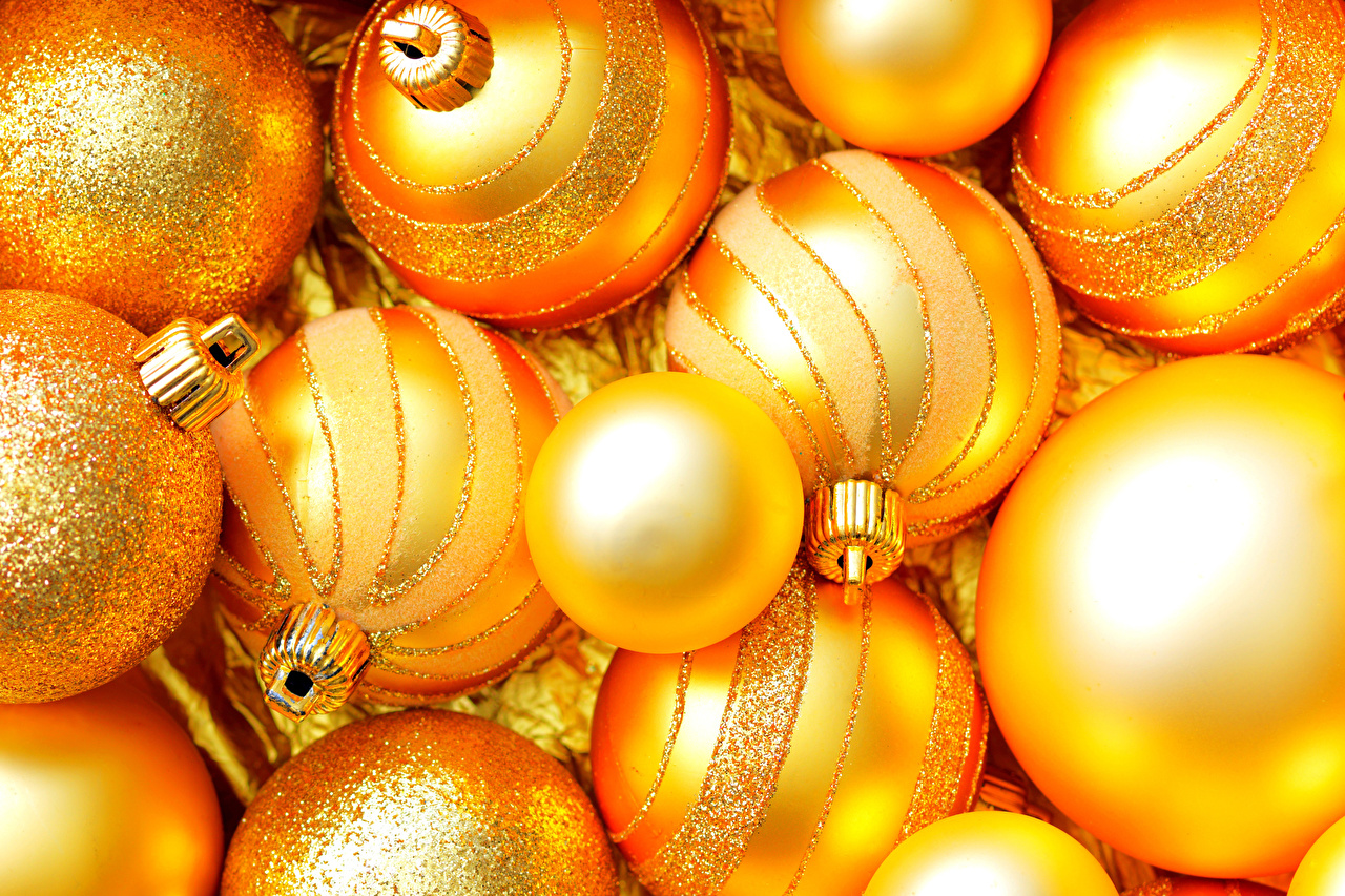 Images Christmas Gold color Balls New year