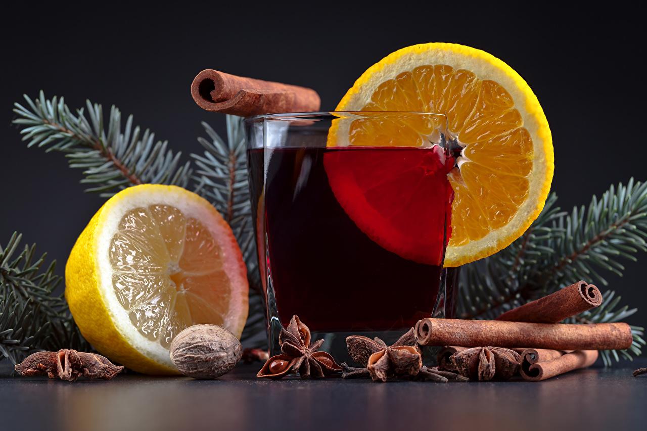 Fotos von Neujahr Zimt Zitrone Trinkglas Lebensmittel Getränke das Essen